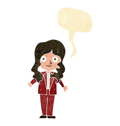 Cartoon friendly business woman with speech bubble vector
