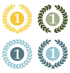 Wreath and number one icon set vector image