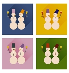 Set of flat web icons with long shadow snowmen vector