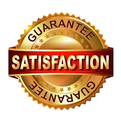 Satisfaction golden label with ribbon vector