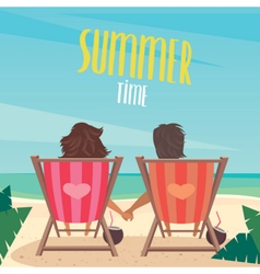 Couple resting on the beach vector image