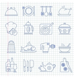 Hand drawn cooking icons vector