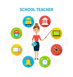 School teacher with education icons concept vector