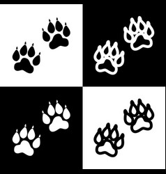 Animal tracks sign black and white icons vector