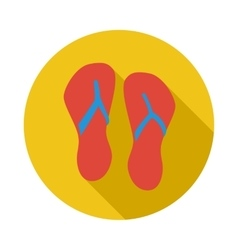 Beach red flip flops icon flat style vector image