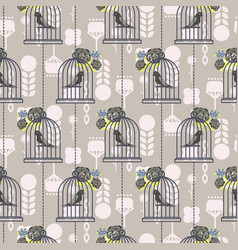 bird cage romantic seamless pattern vector image