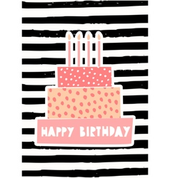 Birthday cake greeting card design vector