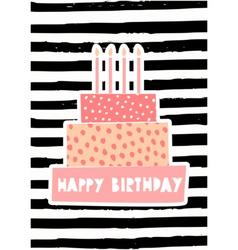 Birthday Cake Greeting Card Design vector image vector image