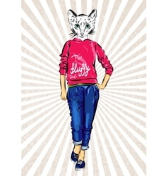 cat girl dressed up in sport wear animal vector image