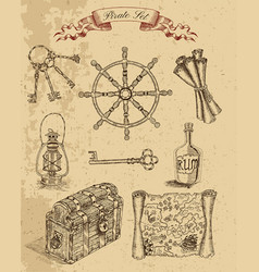 engraved set with pirate objects vector image