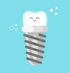 flat style of happy dental implant vector image