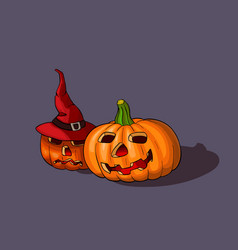 halloween pumpkins with witch hat vector image vector image