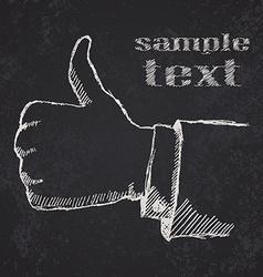 Handdrawn sketch like hand on blackboard vector image