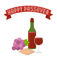 Happy passover with grapes vector