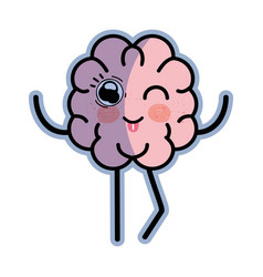 icon adorable kawaii brain expression vector image vector image