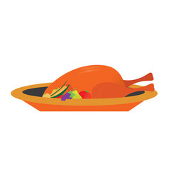 isolated baked turkey vector image