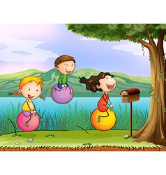 Kids playing near a wooden mailbox vector image vector image