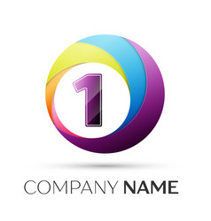 number one logo symbol in the colorful circle on vector image