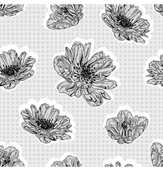 seamless gray flowers vector image vector image
