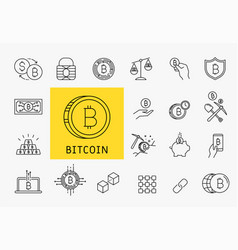 set of line stroke cryptocurrency icons vector image vector image