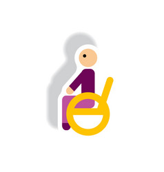 stylish icon in paper sticker style man wheelchair vector image vector image