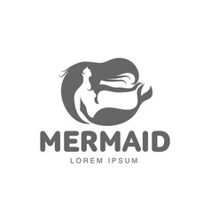 Stylized graphic logo template with long haired vector