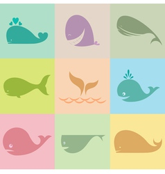 Whale group vector