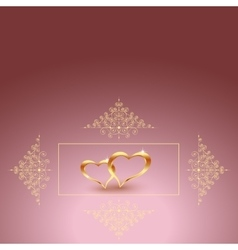 Gold metal heart for valentine s day beautiful vector