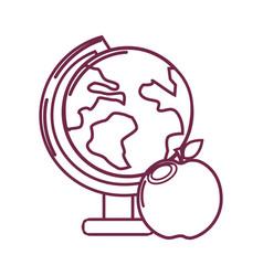 silhouette earth plenet desk with apple fruit vector image