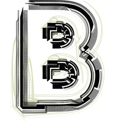 Technological font letter b vector