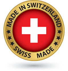 Made in switzeland gold label vector
