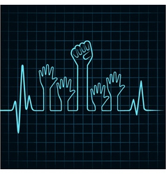 Heartbeat make helping and unity hand vector image