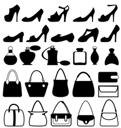 Set of flat woman accessories isolated on white vector