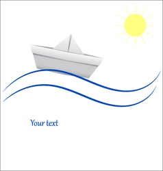 Paper boat in blue waves vector