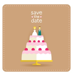 Wedding invitation in flat design with a cake vector