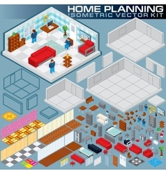 Isometric home plan 3d creation kit vector