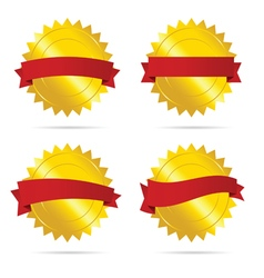 Gold badge with red ribbon empty vector
