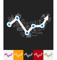 Chart paper sticker with hand drawn elements vector