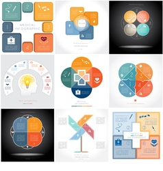 Set 9 templates infographics four positions vector