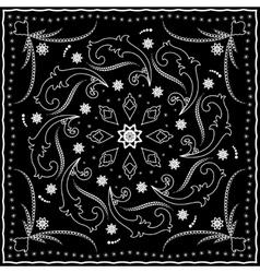 Black handkerchief with white ornament vector