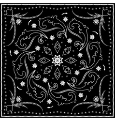 Black handkerchief with white ornament vector