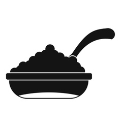Bowl of caviar with spoon icon simple style vector