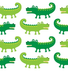 Cartoon crocodiles seamless pattern vector image vector image