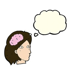 cartoon female head with brain symbol with thought vector image