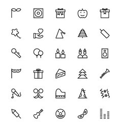Celebration line icons 4 vector