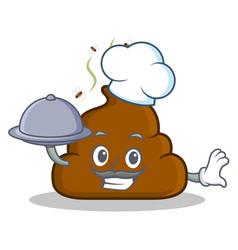 Chef with food poop emoticon character cartoon vector