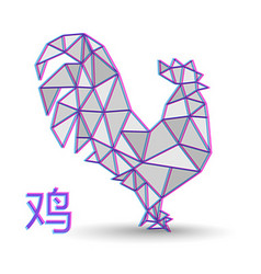 Chinese new year 2017 abstract low poly rooster vector