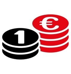 Coins one euro icon vector