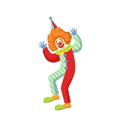 Colorful friendly clown performing in classic vector