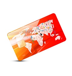 Credit Card - Red Credit Card with World Map vector image vector image